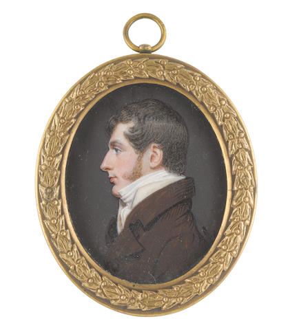 English School, circa 1810 A portrait miniature of George Granville Sutherland-Leveson-Gower, 2nd Duke of Sutherland KG (1786-1861), in profile to the left, wearing brown coat, white waistcoat, chemise, stock and cravat