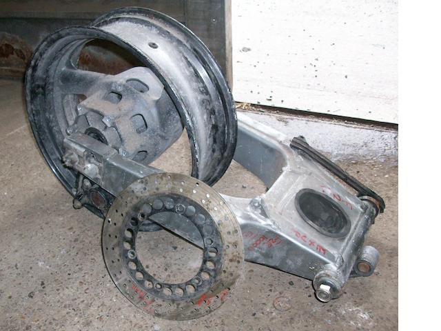 A Yamaha 1000cc 'Exup' back end with wheel,