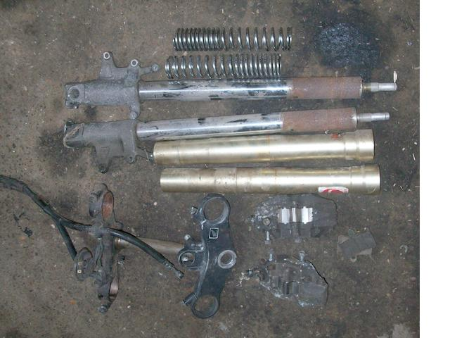 A set of Honda VFR 400cc forks and swing-arm,