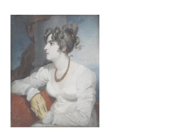 Andrew Robertson, MA (Scottish, 1772-1845) The artist's first wife Jenny, seated on a red sofa before a Classical column and red drapery, profile to the left, wearing long sleeved white dress, sky blue cuffs, yellow gloves and red coral necklace, her dark hair upswept and secured in place with a gold comb, her right elbow resting on the back of the sofa, her gloved hands clasped