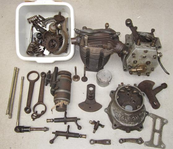 A partially dismantled 350cc ohv engine believed suitable for Raleigh Model 26,