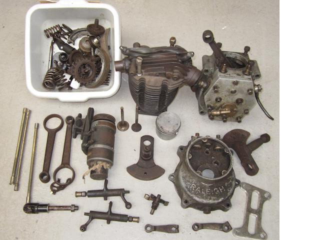 A dismantled ohv engine believed suitable for Raleigh 350cc Model 26,