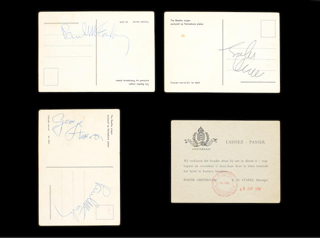 Autographed Beatles postcards, 1964,