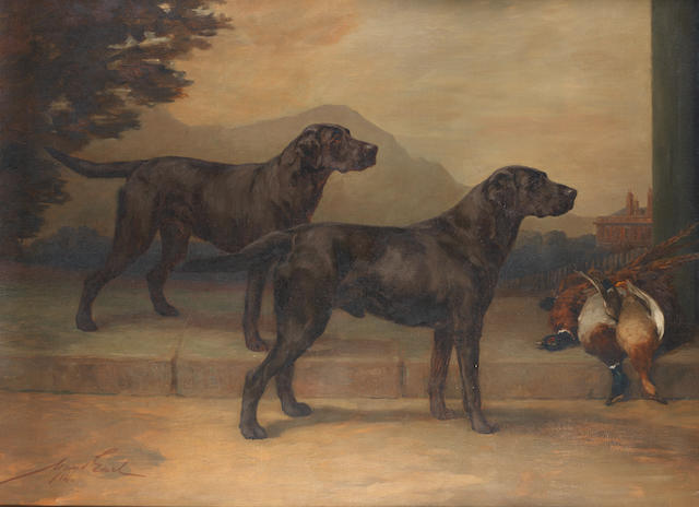 Maud Earl (British, 1864-1943) Labrador Retrievers: Field Trial Champion Peter of Whitmore and Champion Type of Whitmore 48 1/4 x 66 3/4 in. (122.5 x 169.5 cm.)