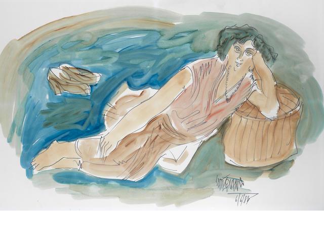 Sadequain (Pakistan, 1937-1987) Untitled (Woman Lying Down)