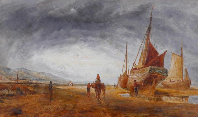 William Joseph Julius Caesar Bond (British, 1833-1926) Fishing boats on the shore, probably at West Kirby