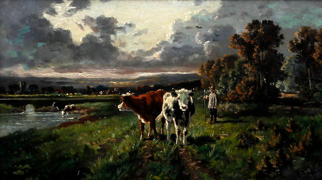 Circle of William Frederick Hulk (British, 1852-1906) Cattle grazing in a meadow, and another similar, a pair