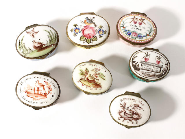 A good collection of seven South Staffordshire enamel lovebird patch boxes, circa 1800-20
