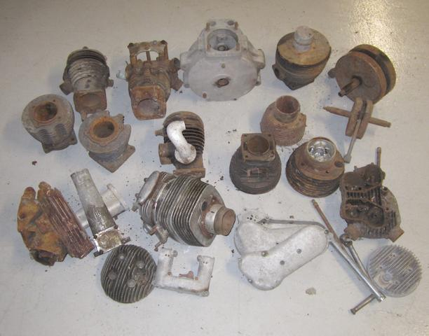 A set of Ariel crankcases and other engine spares,