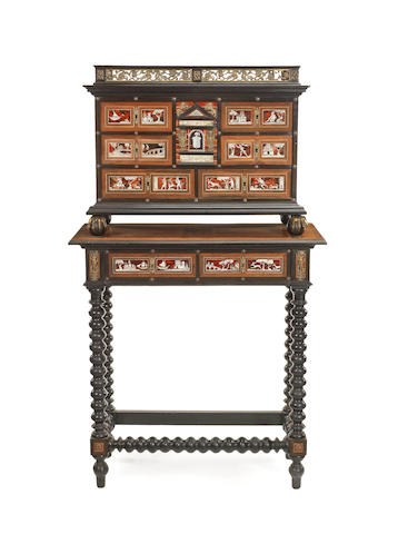 A Flemish late 17th century and later, gilt-metal-mounted ivory inlaid ebony, ebonised and tortoiseshell cabinet on stand