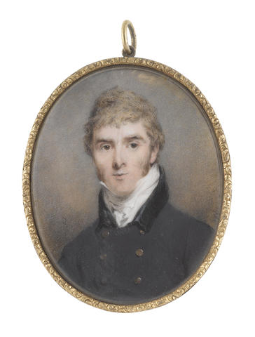 John Wright (British, circa 1745-1820) A Gentleman, wearing dark blue coat with black collar and brass buttons, white stock and cravat