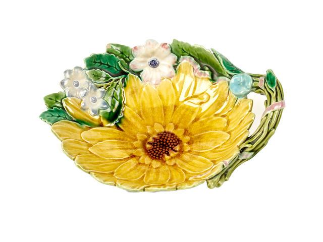 A Minton majolica sunflower dish, circa 1873