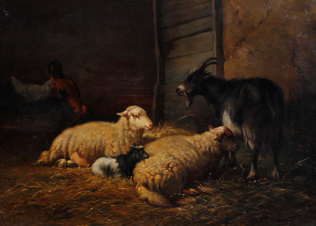 Louis Robbe (Belgian, 1806-1887) Sheep, goats and chickens in a barn