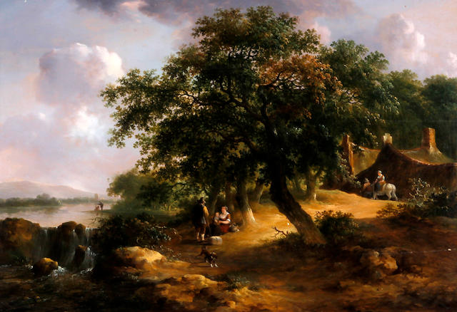 Dutch School, or French School (circa 1850) Wooded river landscape with figures