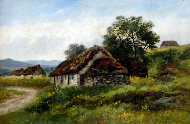 William Beattie Brown, RSA (British, 1831-1909) 'Old Cottages Strath Carron'