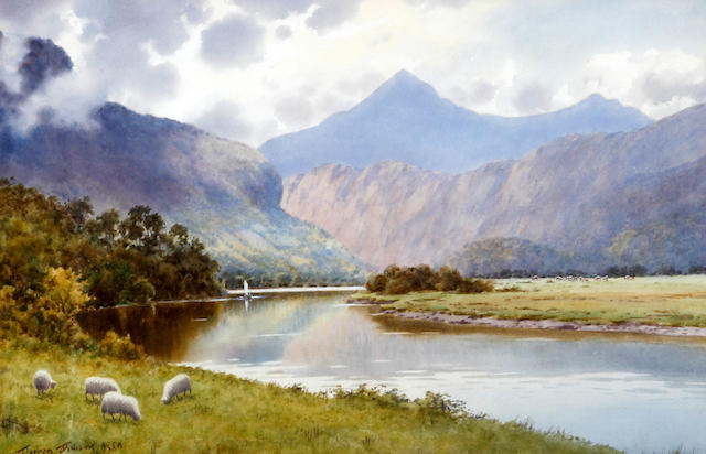 Warren Williams (British, 1860-1941) 'The River Glaslyn at Crossier, looking towards Aberglaslyn Pass and Snowdon'