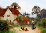 Benjamin D. Sigmund (British, active 1880-1904) Young maid feeding chickens by a cottage