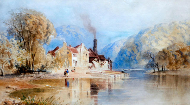 Cornelius Pearson (British, 1805-1891) A riverside watermill, possibly in Wales