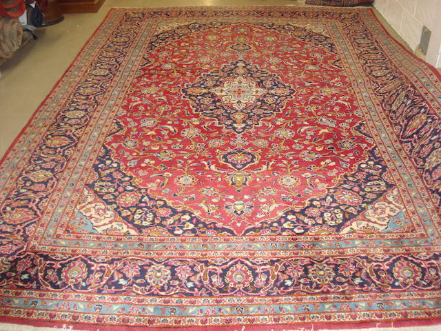A Kashan carpet, Central Persia, 375cm x 250cm