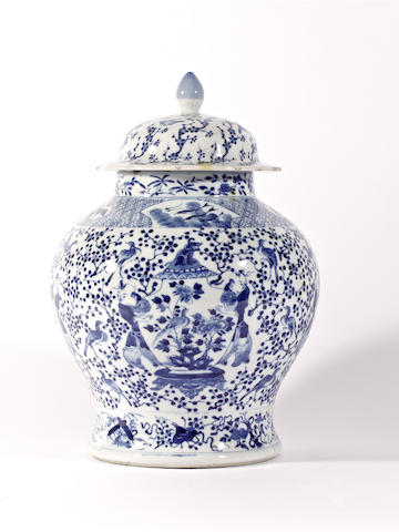 A blue and white baluster vase and cover, four character Kangxi mark but 19th century