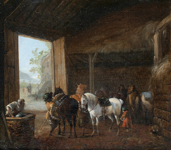 Pieter Wouwerman (Haarlem 1623-1682 Amsterdam) A stable interior with two horses being saddled up and other horses resting