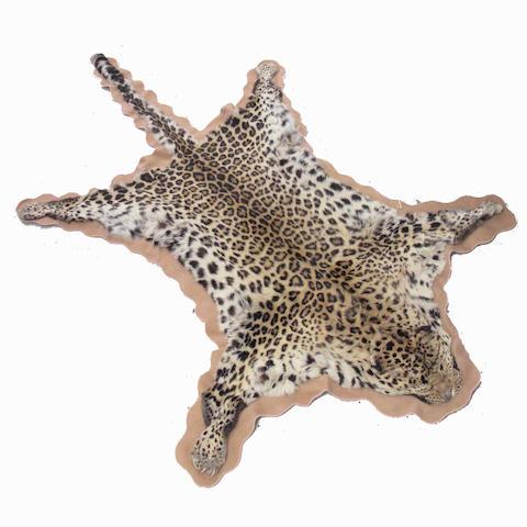 A leopard skin rug