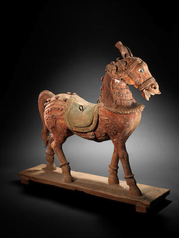 A carved and painted wood Horse India, 19th Century