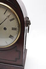 A late Regency mahogany mantel clock  The movement engraved T Shepherd, Wootton Underedge