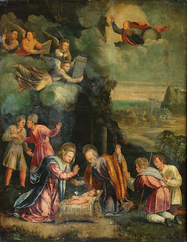 Manner of Benvenuto  Tisi , called il Garofalo The Holy Family with angels and shepherds