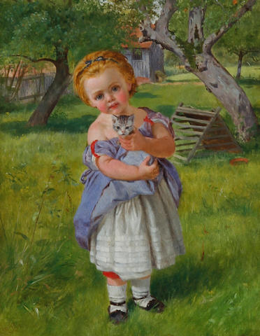 Charles Rossiter (British, 1827-1890) Girl and kitten in an orchard