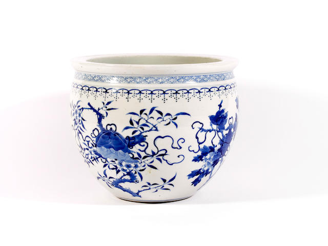 A Chinese blue and white jardiniere or fish bowl