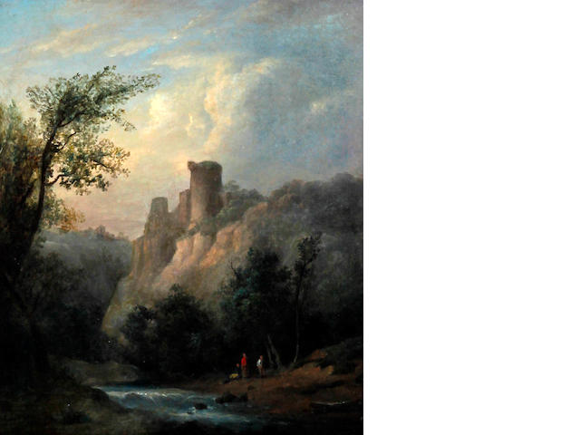 Circle of Richard Wilson R.A.(British, 1713-1782) 'Landscape with river, castle and figures'