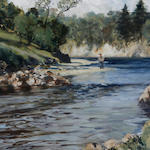 Norman Wilkinson (British, 1878-1971) 'The Clump Pool - River Carron'