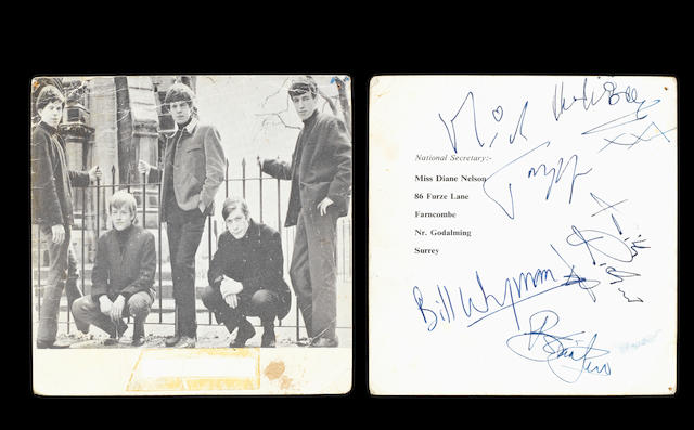 An autographed Rolling Stones Fan Club card, 1960s,