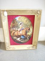 A large porcelain plaque, probably Austrian, signed Hudel Dated 1858
