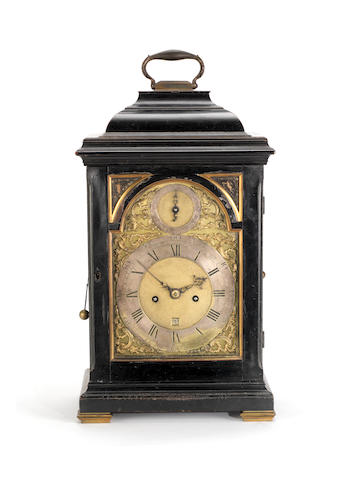 A good mid 18th century ebonised and brass-mounted quarter repeating bracket clock Ellicott, London