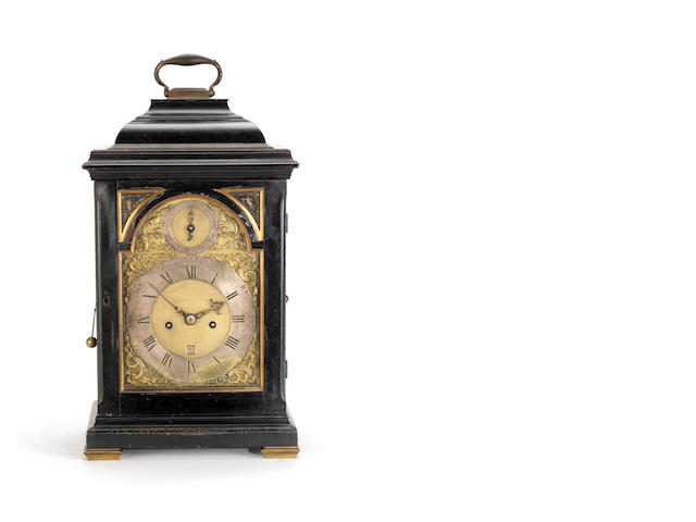 A good mid 18th centry ebonised and brass-mounted quarter repeating bracket clock  Ellicott, London