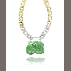 A jadeite and diamond necklace, 1980s