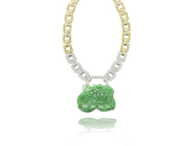 A jadeite and diamond necklace, 1980s