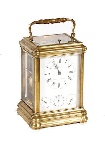 A French mid-19th Century brass carraige clock