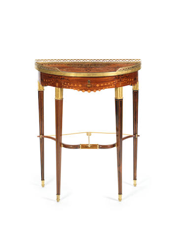 A French late 19th century ormolu-mounted mahogany, kingwood, tulipwood, amaranth and marquetry console table by George-Francois Alix, Paris