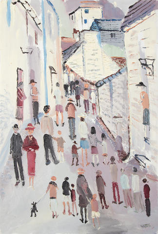 Fred Yates (British, 1922-2008) Figures in a street