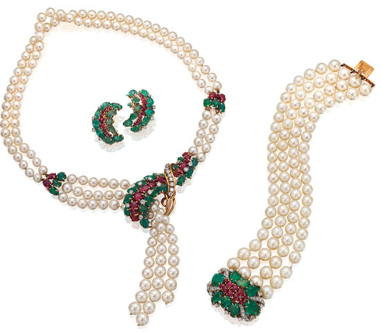 A cultured pearl and gem-set suite of jewellery, French