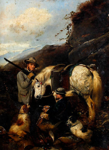 Circle of Robert Cleminson (British, active 1865-1868), (19th century) Sportsmen with ponies, dogs and game