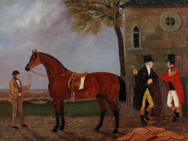 English Naive School, (circa 1840)  A hunter with groom and two gentlemen conversing in a yard