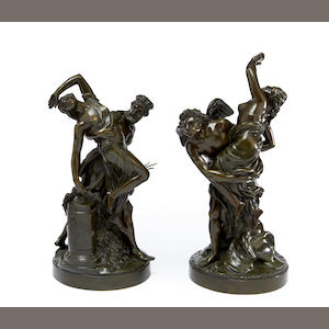 After Louis-Simon Boizot, French (1743-1809) A pair of bronze figural groups of the Rape of Prosperine by Pluto and the Rape of Orithyia by Boreas