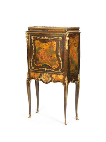 A French late 19th century ormolu-mounted vernis Martin, amaranth and espenille bonheur du jourby Veuve Paul Sormani & Fils