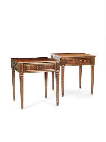 A near pair of Russian brass-inlaid mahogany library tables