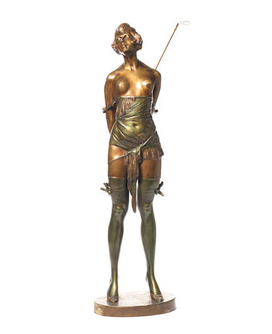 Bruno Zach 'The Riding Crop' an Impressive Green and Gilt Patinated Bronze Study, circa 1930