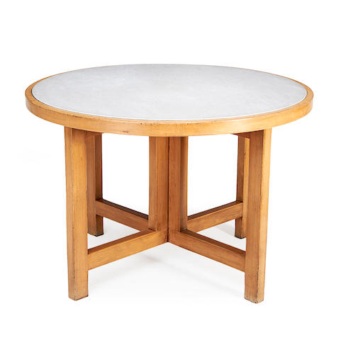 A mid 20th century marble inset beech centre table